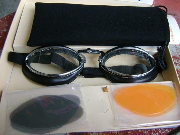 Aviator Goggles - Black Leather & Chrome