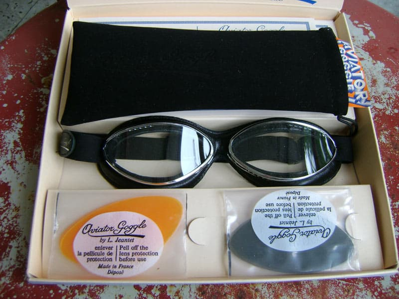 alt=Aviator Goggles - Cuir Black Leather