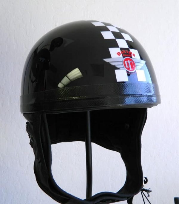 alt=Davida Classic Helmet - Black with Checkered Stripe