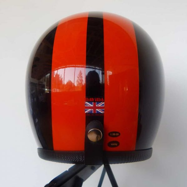 Davida Speedster Black with Orange Stripes back