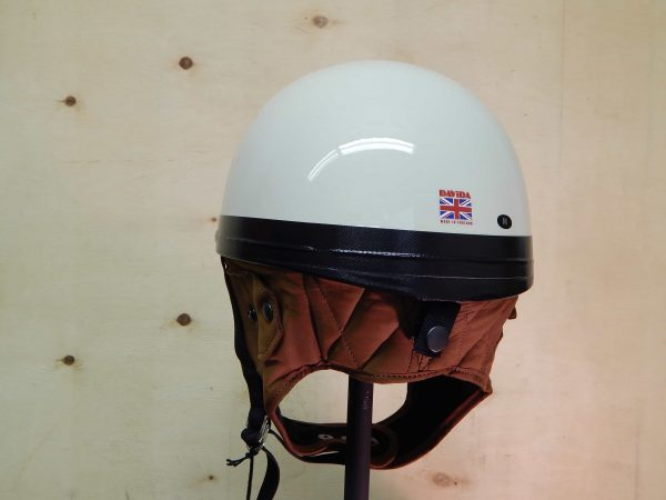 alt=Davida Classic Helmet – Cream with Brown Leather2